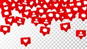Уведомления с подобиями, следующими и комментариями Концепция для социального дизайна средств массовой информации Стоковые Фотографии RF