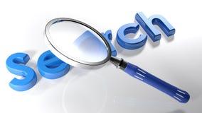 Увеличитель над голубым 3D поиском - перевод 3D иллюстрация вектора
