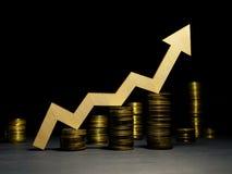 увеличьте профит Деньги и рост вверх по стрелке Успех в деле стоковое изображение