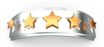 Увенчайте с звездами золота для выстраивать в ряд, 3D Стоковые Фотографии RF