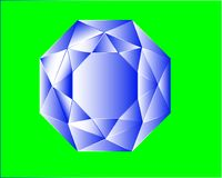 Увенчанный голубой кристалл цвета на зеленой предпосылке Стоковые Фотографии RF