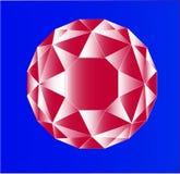 Увенчанный рубиновый кристалл цвета на голубой предпосылке Стоковая Фотография RF