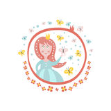 Увенчанный стикер характера принцессы сказки Girly в круглой рамке Стоковые Фото