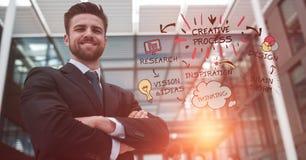 Уверенно бизнесмен с оружиями пересек готовя творческие отростчатые текст и значки Стоковая Фотография