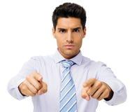 Уверенно бизнесмен указывая на вас стоковое фото