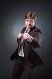 Уверенно бокс бизнесмена в костюме Стоковое Изображение RF
