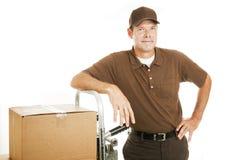 уверенно движенец работника доставляющего покупки на дом Стоковая Фотография