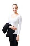 уверенно ее женщина стойки куртки Стоковое Изображение