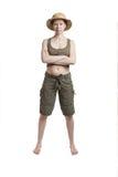 Уверенно женщина в тропическом росте шлема полностью Стоковые Фотографии RF