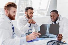 Уверенно 3 доктора анализируя фото рентгеновского снимка Стоковое Фото