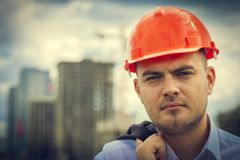 Уверенно рабочий-строитель стоковое фото rf