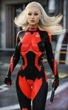 Уверенно сексуальный женский солдат scifi стоковая фотография rf