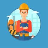 Уверенно строитель при пересеченные рукоятки Стоковая Фотография