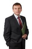 Уверенно элегантный красивый зрелый бизнесмен нося славный sui Стоковые Фотографии RF