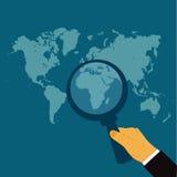 Увеличиванная карта мира, иллюстрация вектора в плоском дизайне для вебсайтов, дизайне Infographic иллюстрация штока