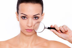 Увеличивая лицевые характеристики Стоковые Изображения RF