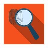 Увеличитель и отпечаток пальцев Обнаружение преступников отпечатком пальцев Значок тюрьмы одиночный в плоском запасе символа вект иллюстрация вектора