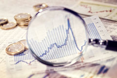 Увеличитель показывает развитие рынка Стоковое Изображение RF