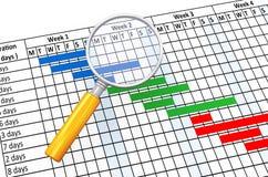 увеличитель 3d и планово-контрольный график Стоковая Фотография