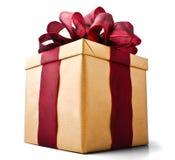 увиденный настоящий момент золота подарка коробки bellow Стоковое Изображение RF