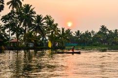 Увлекая взгляд шлюпки с лодочником, деревьями, домами, ландшафтом на подпорах в Керале, южной Индии стоковое фото rf