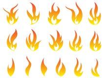 Увольняйте дизайн значка вектора символа логотипа пламен установленный Иллюстрация вектора