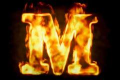 Увольняйте письмо m горящего света пламени, перевода 3D бесплатная иллюстрация