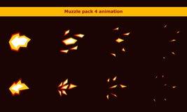 Увольняйте рамки анимации намордника оружия для игры шаржа Стоковое фото RF