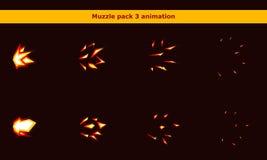 Увольняйте рамки анимации намордника оружия для игры шаржа Стоковые Фото