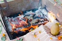 Увольняйте церемония с предложениями только vegetable начала во время гуру p стоковая фотография rf