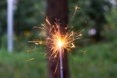 Увольнять бенгальский свет в руке с запачканным взглядом конца-вверх bakground стоковое изображение rf