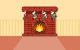 Увольняйте место с чулком для вектора рождества плоского Бесплатная Иллюстрация