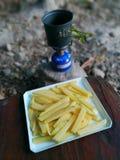 Увольнянное французом меню еды в жизни и стиле располагаясь лагерем шатра Стоковая Фотография RF