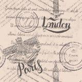 Увяданный текст, штемпеля, большой ben, помечая буквами Лондон, ярлык Парижа при нарисованная рука жалюзи, помечая буквами Париж, стоковая фотография