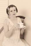 Увяданное винтажное чаепитие Стоковая Фотография