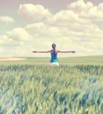 Увяданное ретро изображение стиля девушки в пшеничном поле Стоковая Фотография