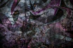 Увяданное Grafiti на треснутой стене цемента Стоковые Фотографии RF