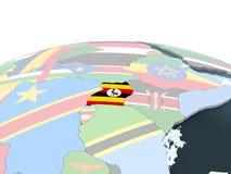 Уганда с флагом на глобусе бесплатная иллюстрация
