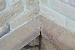 Угловая структура дома Текстура - искусственное façade декоративного камня текстура предпосылки каменной стены серого цвета груб Стоковые Изображения
