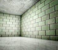 угловойые плитки интерьера grunge 3d Стоковая Фотография RF