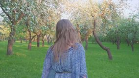 Уговаривая молодая женщина идя в яблоневый сад весной цветет белизна r сток-видео