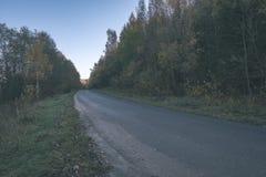 угождать дороге гравия страны чувств или разума астетически в цветах осени в цветах падения с туманом и туманными деревьями на об стоковые фото