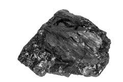 Уголь близкий вверх на белой предпосылке Высококачественный уголь минированный в тазе Kuznetzk Каменноугольный бассейн Kuzbass, W Стоковые Изображения RF