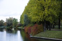 Угол парка города водой стоковая фотография rf