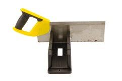 Угол пилы отрезал инструмент коробки митры на белизне Стоковая Фотография