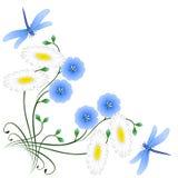 Угол с цветками голубых льна, camomiles и dragonflies иллюстрация штока