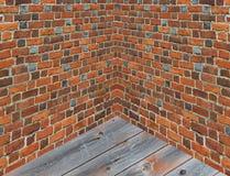 Угол в комнате с стенами от красного кирпича Стоковое Изображение