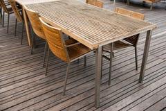 Угол деревянного комплекта таблицы и стула Дизайн мебели Стоковые Фото