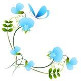 Угол с цветками и бабочкой голубого гороха иллюстрация вектора