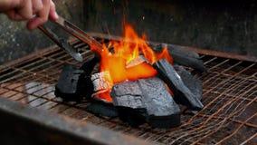 Уголь/уголь и огонь для барбекю Стоковая Фотография RF